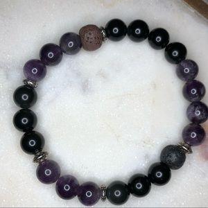 Healing bracelet Amethyst Black Obsidian Lava bead